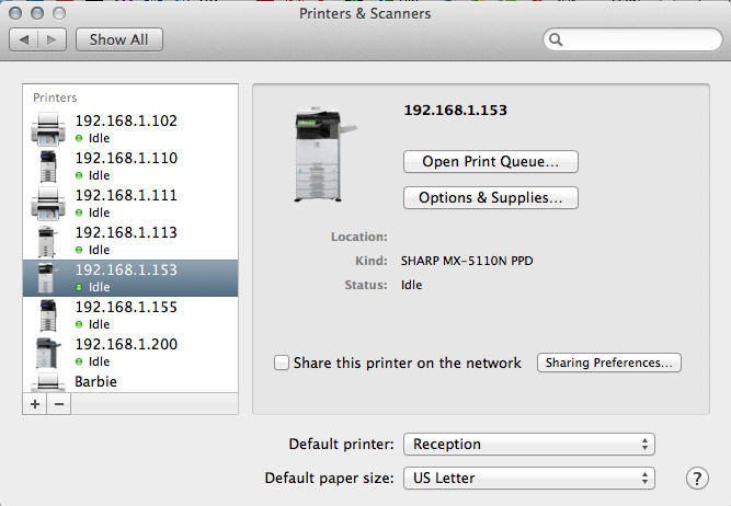 Configure Sharp Print Driver - Mac OSX