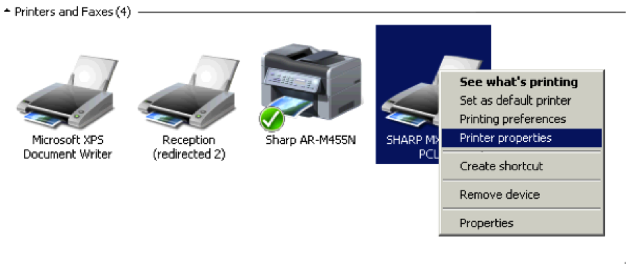 How to configure sharp print driver with installed options.