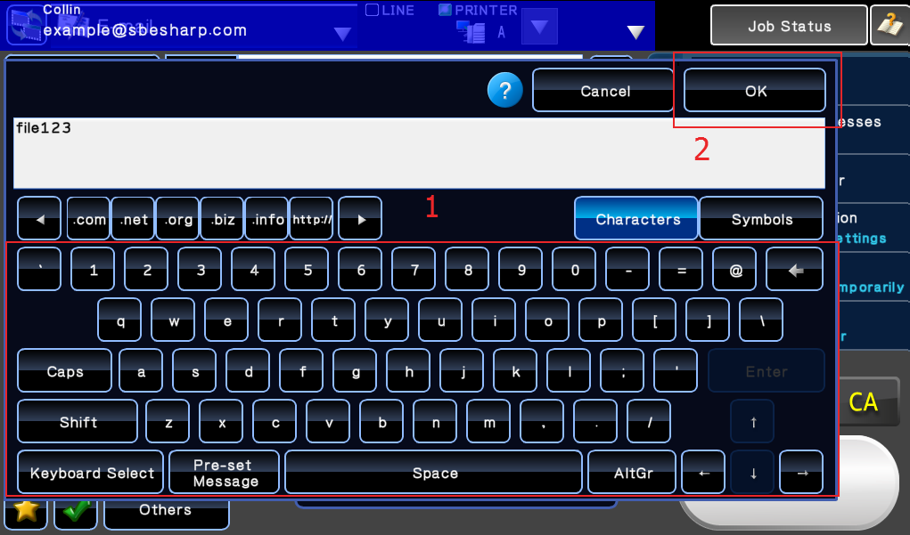 Input File Name, touch OK