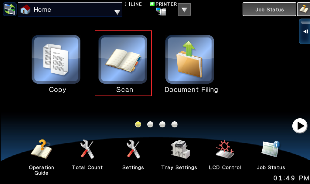 how to name file before scanning on sharp scanner