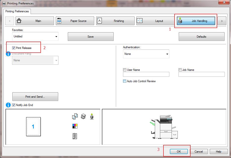 Sharp Print Release - Job Handling - Print Release - Ok