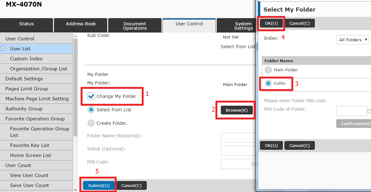 21 Change Folder - How To Setup HID Card Reader and Auto-Login Print on Sharp Copier