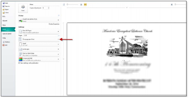 How To Print Legal Booklets from Microsoft Publisher on Sharp Printer - 1