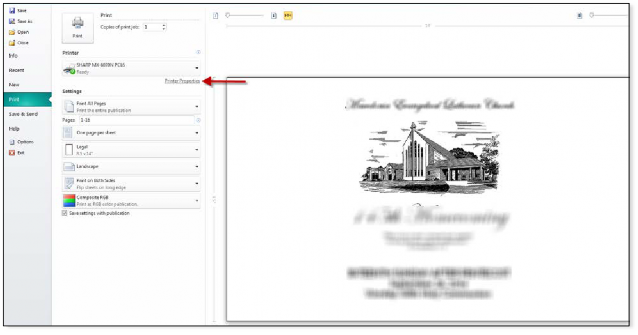 How To Print Legal Booklets from Microsoft Publisher on Sharp Printer - 2