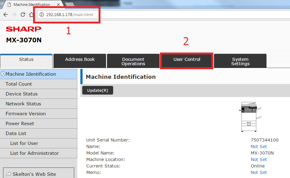 How To Setup User Control on Sharp Copier 1