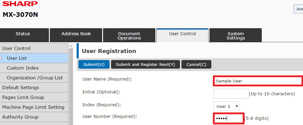 How To Setup User Control on Sharp Copier 10