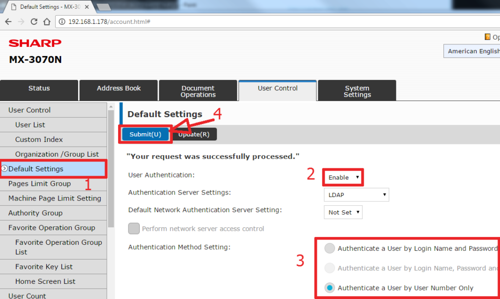 How To Setup User Control on Sharp Copier 3