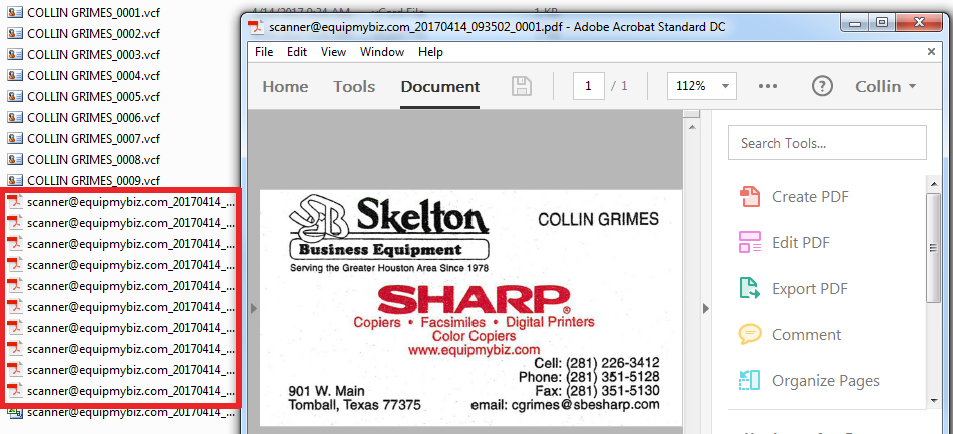 Sharp business card scanner and multicrop skelton business equipment folder as pdfs or you may change the file type using the right menu before scanning the images will be cropped to size in individual pdfs reheart Choice Image