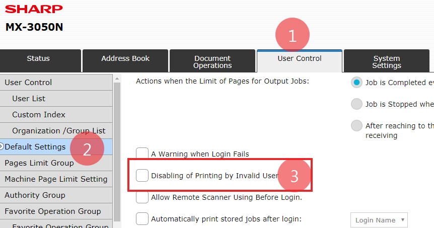 Sharp User Control with Exception for Printing - Printing does not require code