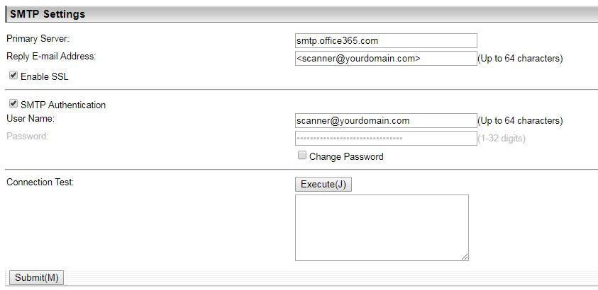 Sharp Copier Microsoft Office365 SMTP TLS Scan to Email pre-2016