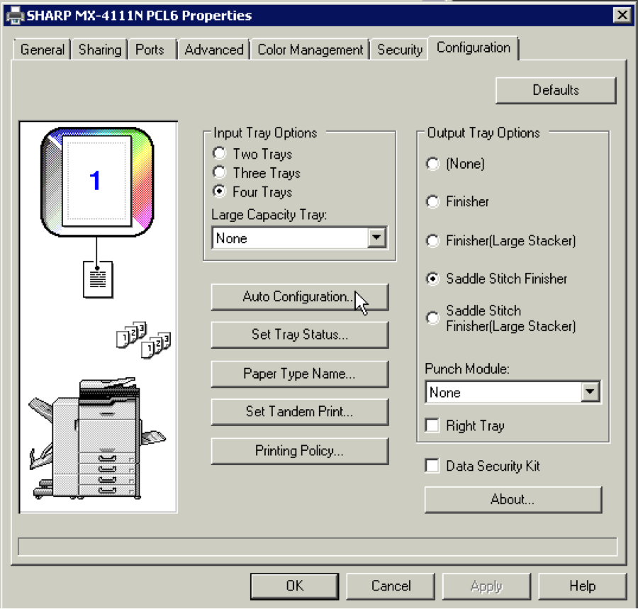 How To Configure Sharp Print Driver with Installed Options