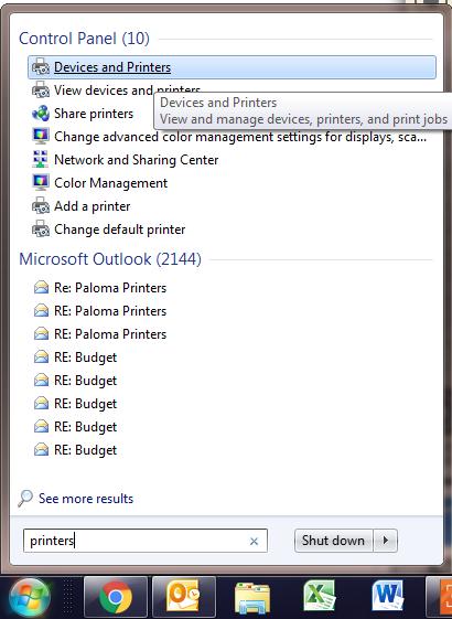open printers menu