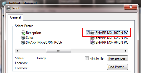 Sharp Print Release - File Print - Choose Primary Click Preferences
