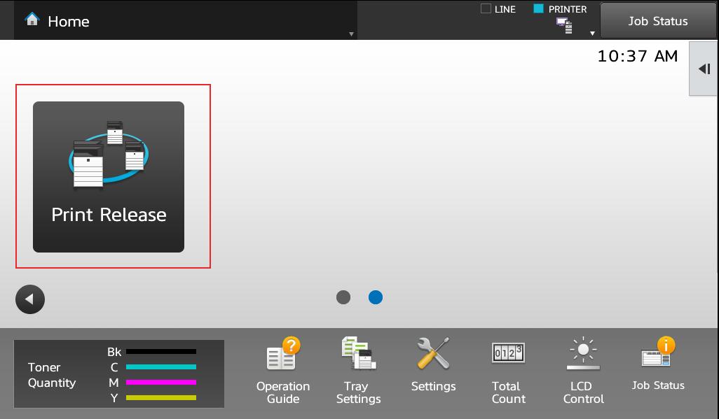 Sharp Print Release - Home Screen - Print Release