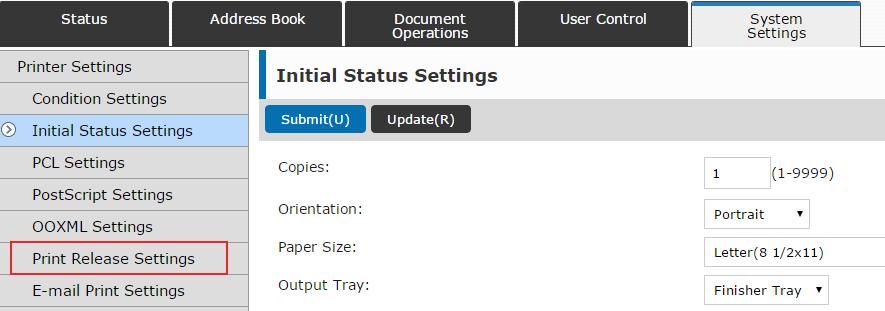 Sharp Print Release - Print Release Settings