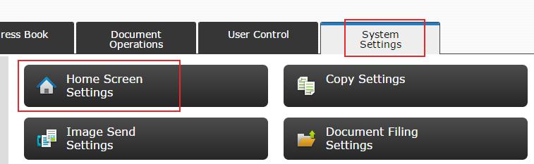Sharp Print Release - System Settings - Home Screen Settings