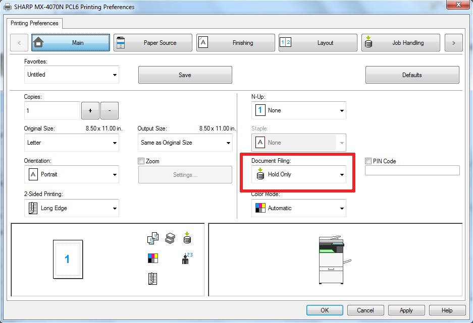 22 Hold Only - How To Setup HID Card Reader and Auto-Login Print on Sharp Copier