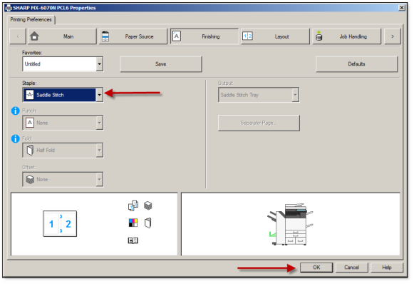 How To Print Legal Booklets from Microsoft Publisher on Sharp Printer - 6