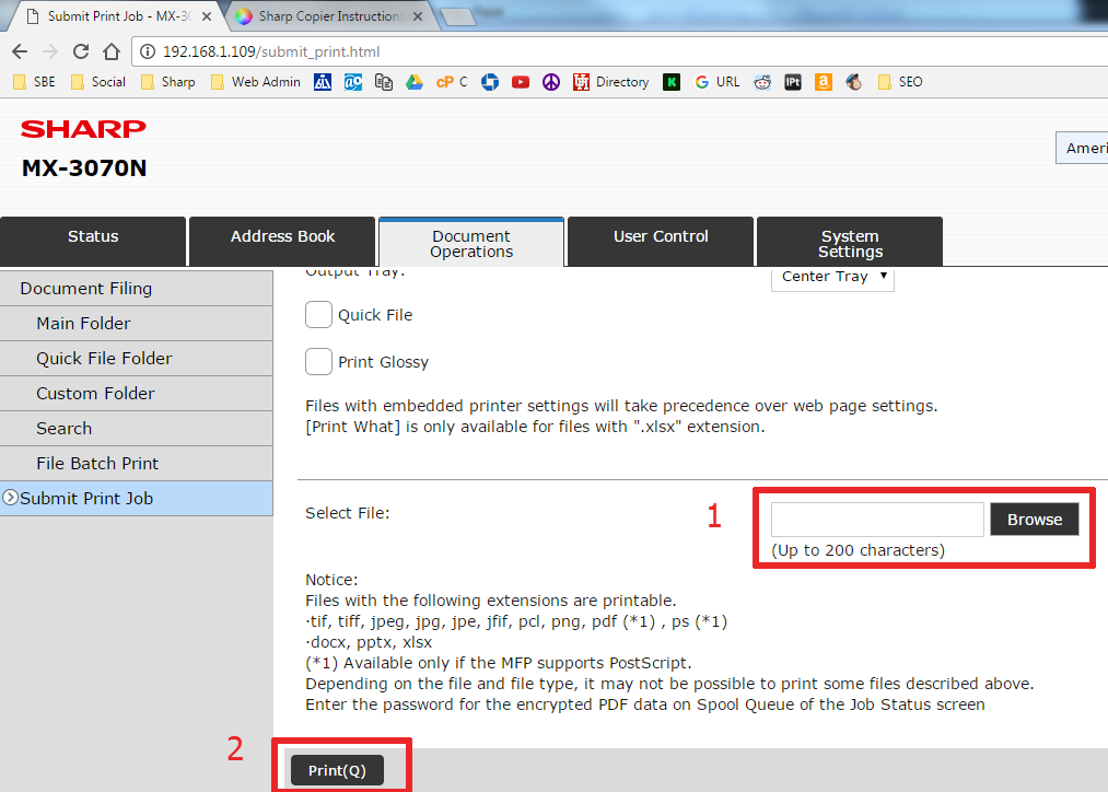 Submit Print Job from Web GUI Page Sharp Copier 9