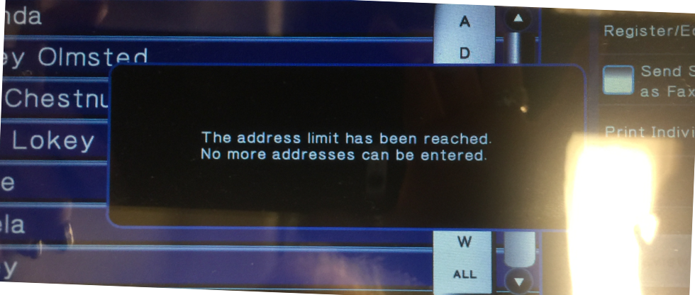 the address limit has been reached no more addresses can be selected